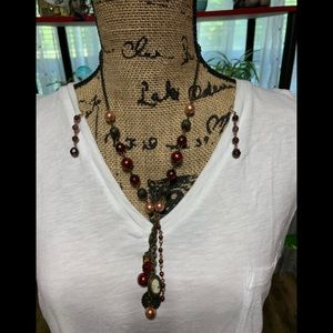 Ruby with cameo necklace